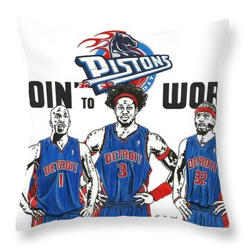 Detroit Goin' To Work Pistons Throw Pillow