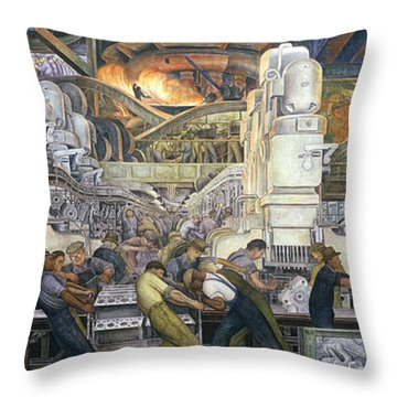 Detroit Industry   North Wall Throw Pillow