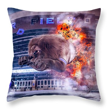 Throw Pillow featuring the photograph Detroit Lions At Ford Field 2 by Nicholas Grunas