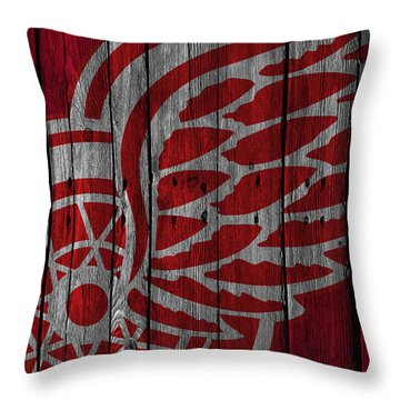 Detroit Red Wings Wood Fence Throw Pillow