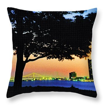 Detroit River View Throw Pillow by Dennis Cox WorldViews