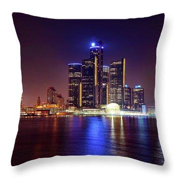 Detroit Skyline 4 Throw Pillow by Gordon Dean II