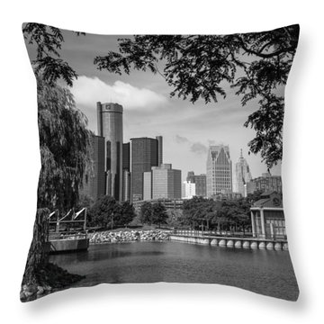 Detroit Skyline And Marina Black And White  Throw Pillow