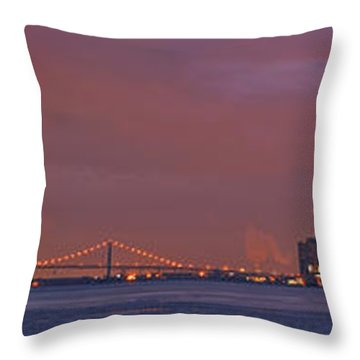 Detroit Skyline Throw Pillow by Michael Peychich