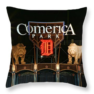 Detroit Tigers - Comerica Park Throw Pillow by Gordon Dean II
