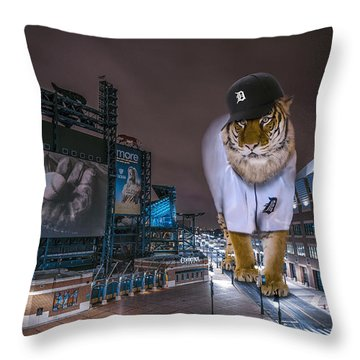 Detroit Tigers At  Comerica Park Throw Pillow