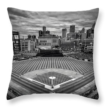 Detroit Tigers Comerica Park Bw 4837 Throw Pillow