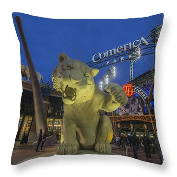 Detroit Tigers Comerica Park Front Gate Tiger Throw Pillow