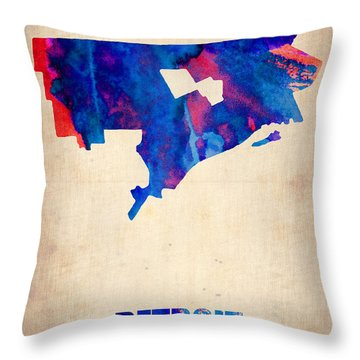 Detroit Watercolor Map Throw Pillow