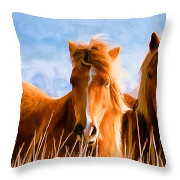 Throw Pillow featuring the painting Deuces Wild by Steven Richardson