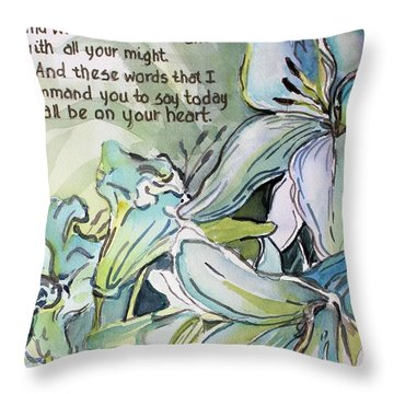 Throw Pillow featuring the painting Deuteronomy 6 5-6 by Mindy Newman