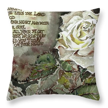 Throw Pillow featuring the painting Deuteronomy 6 by Mindy Newman