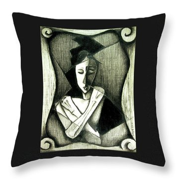 Throw Pillow featuring the drawing Deviant by Delight Worthyn