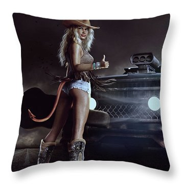 Throw Pillow featuring the digital art Devil In Blue Jeans by Shanina Conway
