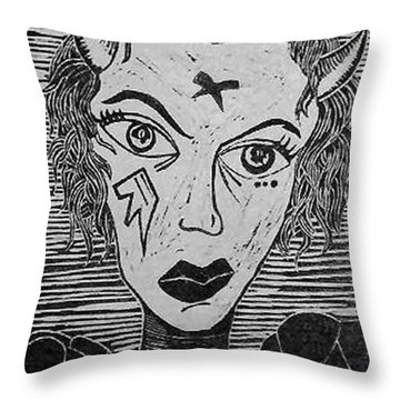 Devil Print Two Out Of Five  Throw Pillow by Thomas Valentine