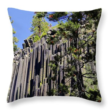 Devils Postpile - America's Volcanic Past Throw Pillow by Christine Till