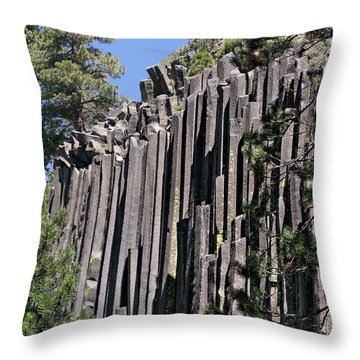 Devils Postpile National Monument - Mammoth Lakes - East California Throw Pillow by Christine Till