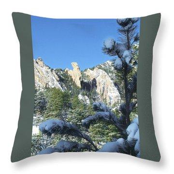 Devil's Thumb In Winter Throw Pillow