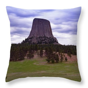 Throw Pillow featuring the photograph Devil's Tower 2 by Gary Lengyel
