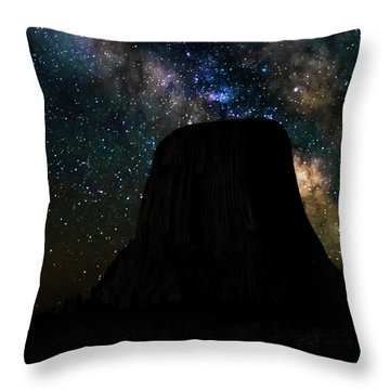 Throw Pillow featuring the photograph Devils Tower And Milky Way by Scott Read