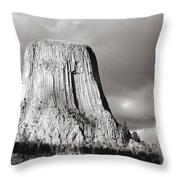 Devil's Tower Black And White Throw Pillow
