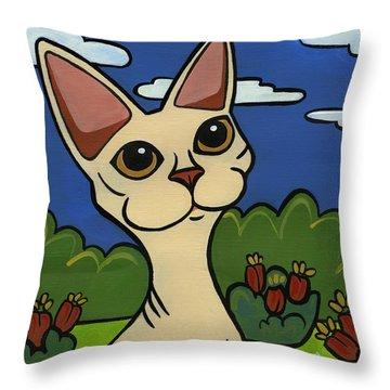 Devon Rex Throw Pillow by Leanne Wilkes