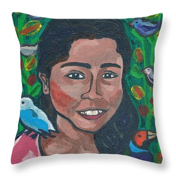 Throw Pillow featuring the painting Devoted To Birds by Janelle Dey