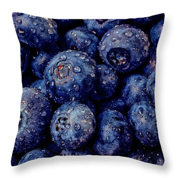 Dew Covered Blueberries Throw Pillow