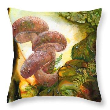 Dew Drop Mushrooms Throw Pillow by Sherry Shipley