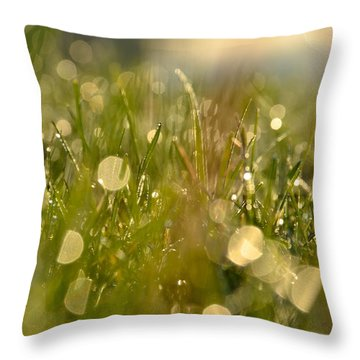Dew Droplets Throw Pillow