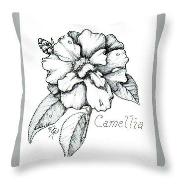 Dew Kissed Camellia Throw Pillow