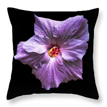 Dew Kissed Hibiscus Throw Pillow