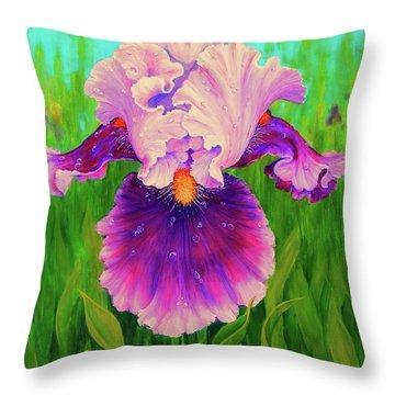 Dewdrop Iris Throw Pillow