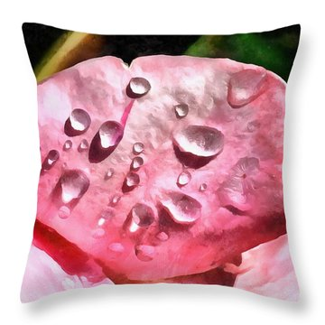 Dewdrops On A Rose Flower Petal Throw Pillow