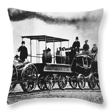 Dewitt Clinton Locomotive Throw Pillow by Omikron