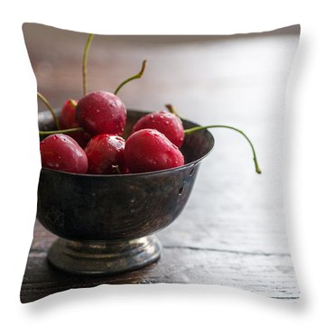 Dewy Cherries Throw Pillow