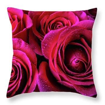 Dewy Rose Bouquet Throw Pillow