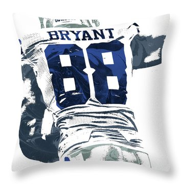 Throw Pillow featuring the mixed media Dex Bryant Dallas Cowboys Pixel Art 6 by Joe Hamilton
