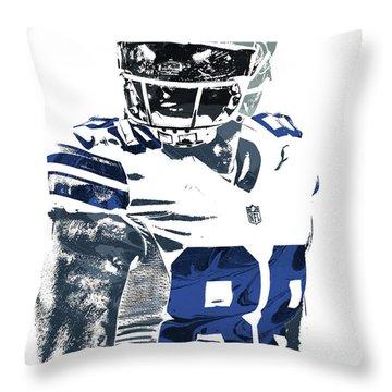Throw Pillow featuring the mixed media Dez Bryant Dallas Cowboys Pixel Art 5 by Joe Hamilton