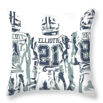 Dez Bryant Ezekiel Elliott Dak Prescott Dallas Cowboys Pixel Art Throw Pillow