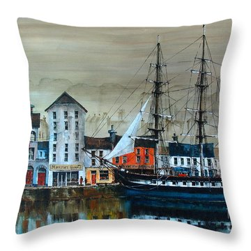 Ireland Canada Links.. The'' Dunbrody'' Famine Ship In New Ross, Wexford Throw Pillow