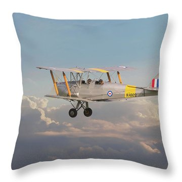 Throw Pillow featuring the digital art Dh Tiger Moth - 'first Steps' by Pat Speirs