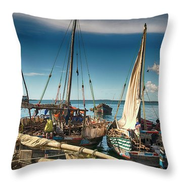Dhow Sailing Boat Throw Pillow by Amyn Nasser