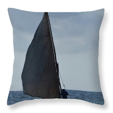 Dhow Wooden Boats In Sail Throw Pillow