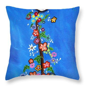 Dia De Los Muertos Throw Pillow by Pristine Cartera Turkus
