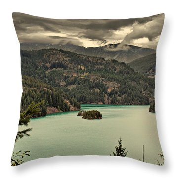 Diablo Lake - Le Grand Seigneur Of North Cascades National Park Wa Usa Throw Pillow by Christine Till