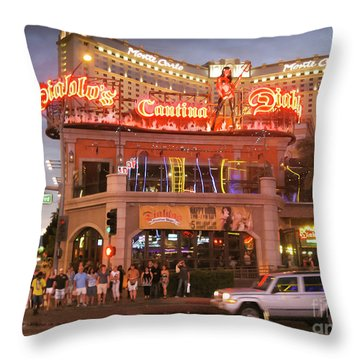 Diablo's Cantina In Las Vegas Throw Pillow by RicardMN Photography