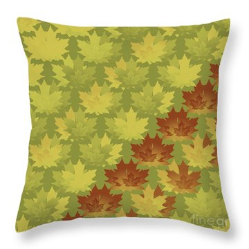 Throw Pillow featuring the digital art Diagonal Leaf Pattern by Methune Hively