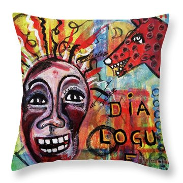 Dialogue Between Red Dawg And Wildwoman-self Throw Pillow by Mimulux patricia no No