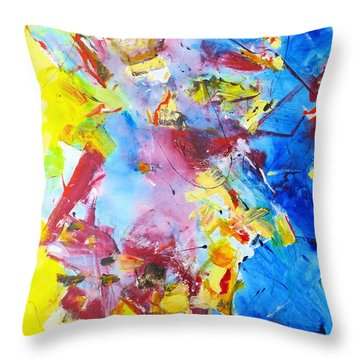 Dialogue In Yellow And Blue Throw Pillow
